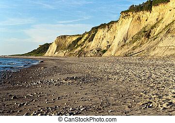 Golden cliff coast at baltic sea