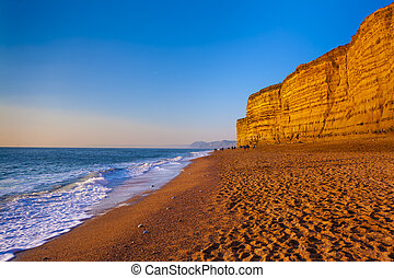 Golden cliffs at West Bay on the Jurassic Coast of Dorset Englan
