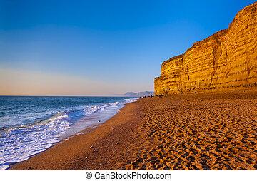 Golden cliffs at West Bay on the Jurassic Coast of Dorset Englan