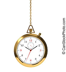 Golden clock - Computer generated image of golden clock ...