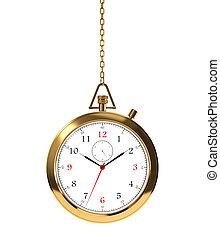 Golden clock - Computer generated image of golden clock...