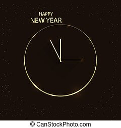 golden clock on new years eve