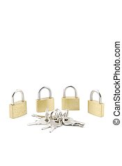 Golden closed padlocks with keys on white