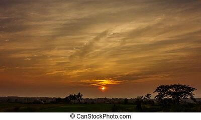 Golden clouds sunset.