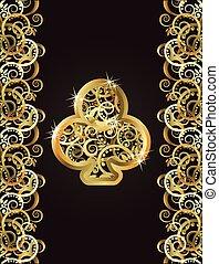 Golden club poker card