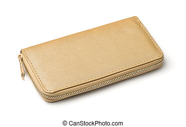 Golden clutch bag isolated on white