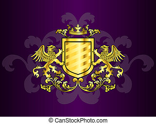 Golden Coat of Arms with Griffins - Heraldry design with...