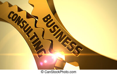Golden Cog Gears with Business Consulting Concept. 3D.