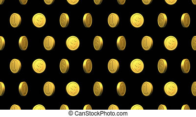 Golden coin dollar video Seamless pattern background. Looped animation with alpha channel.