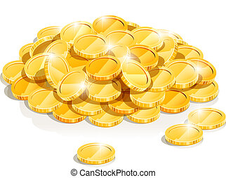 golden coin heap vector illustration isolated on white background EPS10. Transparent objects and opacity masks used for shadows and lights drawing