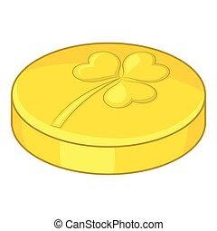 Golden coin icon, cartoon style