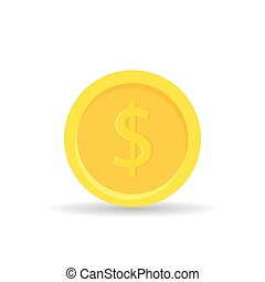 Golden coin icon isolated on white background - vector illustration. Gold money finance flat style