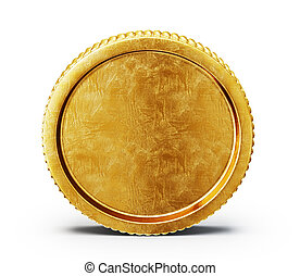 coin - golden coin isolated on a white backgroound