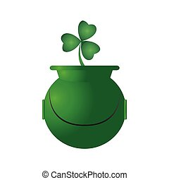 Golden coin pot with a clover