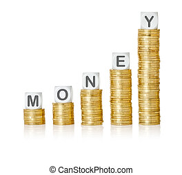 Golden coin stacks with letter dice - Money
