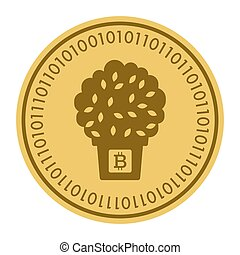 Golden coin with a tree in a pot sign. Money and finance symbol Cryptocurrency. Vector Illustration isolated on white background. Cryptography
