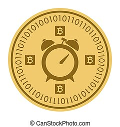 Golden coin with alarm clock sign. Money and finance symbol Cryptocurrency. Vector Illustration isolated on white background. Gold coin with Bitcoin symbol cryptocurrency. Cryptography