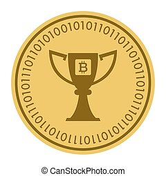 Golden coin with bitcoin sign. Money and finance symbol Cryptocurrency. Vector Illustration isolated on white background. Gold coin with Bitcoin symbol cryptocurrency. Cryptography