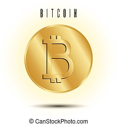 Golden coin with bitcoin sign. Vector Illustration isolated on white background.