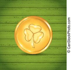 Golden coin with clover on green wooden texture for St. Patrick's Day