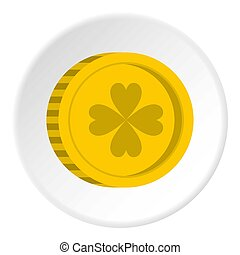 Golden coin with clover sign icon circle