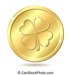 Golden coin with clover. - Golden coin with four leaf...