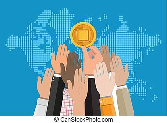 Golden coin with computer chip in hand
