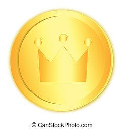 Golden coin with crown on white