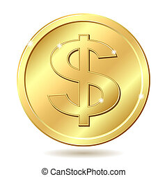 Gold coin with dollar sign. Vector illustration isolated on white background
