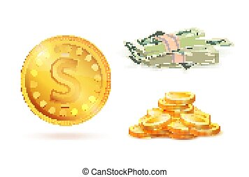 Golden Coin with Dollar Sign, Heap of Gold, Money