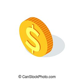 Golden Coin with Dollar Sign Isolated Crowdfunding