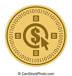 Golden coin with dollar sign. Money and finance symbol Cryptocurrency. Vector Illustration isolated on white background. cryptocurrency. Cryptography