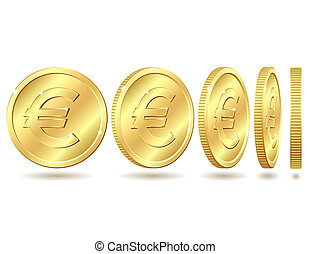 golden coin with euro sign - Gold coin with euro sign with...