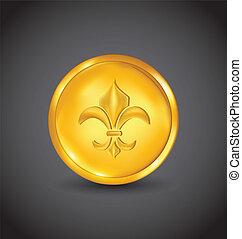 Golden coin with fleur de lis on black background