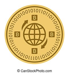 Golden coin with globe sign. Money and finance symbol Cryptocurrency. Vector Illustration isolated on white background. Gold coin with Bitcoin symbol cryptocurrency. Cryptography