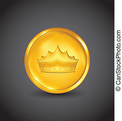 Golden coin with heraldic crown on black background
