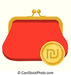 Golden coin with Israeli Shekel currency symbol and red purse, wallet. ILS money icon. Vector illustration.