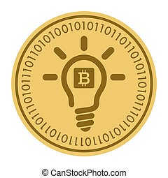 Golden coin with light bulb sign. Money and finance symbol Cryptocurrency. Vector Illustration isolated on white background. Cryptography