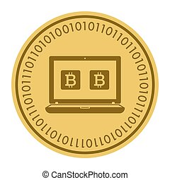 Golden coin with pc sign. Money and finance symbol Cryptocurrency. Vector Illustration isolated on white background. Cryptography