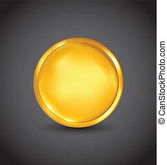 Golden coin with shadow on dark background