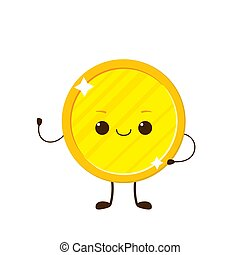 Golden coin with smile face