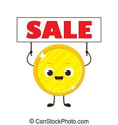 Golden coin with smile face holding sale sign