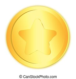 Golden coin with star symbol