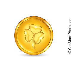 Golden coin with three leaves clover. St. Patrick's day symbol