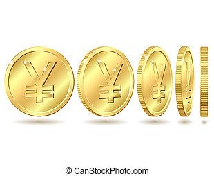 Golden coin with yen sign
