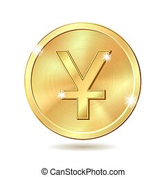 golden coin with yuan sign