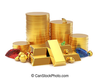 Golden coins and bar with gems