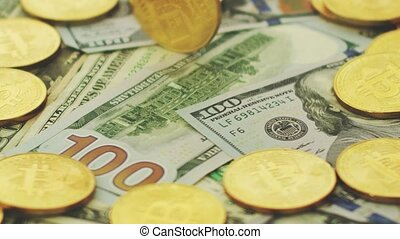 Golden coins and dollar bills - Close-up of colorful dollar...