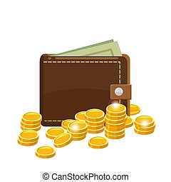 Golden coins and wallet with dollars in purse. Saving money concept. Vector illustration, cartoon style, isolated
