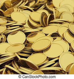 Golden coins background - Golden scattered coins closeup ...